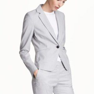 H&M Gray & White Marled Fitted Blazer Jacket